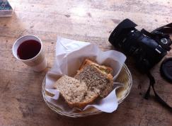 Hummus sandwich and raspberry lemonade from the tea house