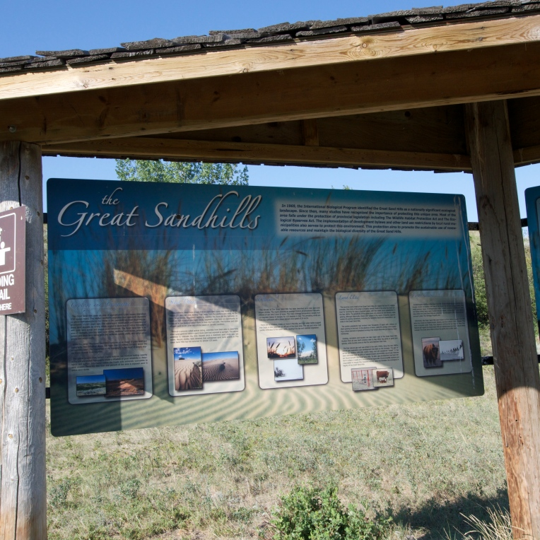 Interpretive signs in the parking lot