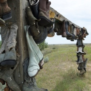 Boot monument for local rancher